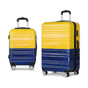 Wanderlite 2 Piece Lightweight Hard Suit Case Luggage Yellow & Purple