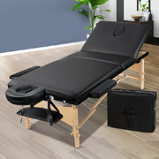3 Fold Portable Wood Massage Table - Black
