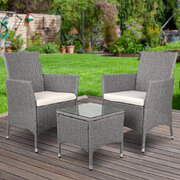 3-piece Outdoor Chair and Table Set Grey