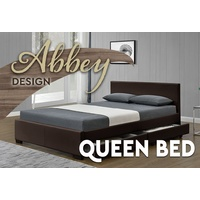 Abbey Queen Size Bed with Side Draw Mat PU Leather Brown 152 x 203cm