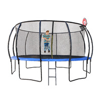14ft/427cm Trampoline with Ladder and Basketball Hoop