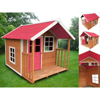 Kids Outdoor Wooden Playhouse with Pink Roof 172 x 140 x 136cm
