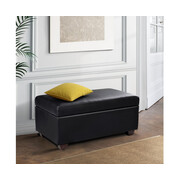Faux PU Leather Storage Ottoman - Black