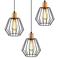 Artiss 3x Pendant Light Wood and Metal Black