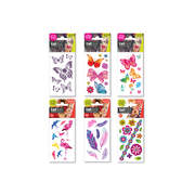 PRICE FOR 6 ASSORTED TEMPORARY TATTOO BUTTERFLY & FLOWER