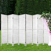 Artiss Room Divider Screen 8 Panel Privacy Wood Dividers Stand Bed Timber White