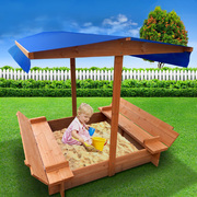 Keezi Wooden Outdoor Sand Box Set Sand Pit- Natural Wood