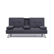 Linen Fabric 3 Seater Sofa Bed Recliner Lounge Couch Cup Holder Futon Dark Grey