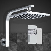 "WELS 8"" Rain Shower Head Set Gooseneck Square Mixer Hand Held High Pressure"