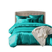 1000TC Silk Satin Duvet Cover Set in Single Size in Teal Colour
