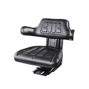 PU Leather Universal Tractor Seat Adjustable Backrest Suspension - Black