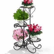 2x Flower Shape Metal Plant Stand with 4 Plant Pot Space in Black Colour