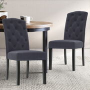 2x Dining Chairs French Provincial Kitchen Cafe Fabric Padded High Back Pine Wood Grey