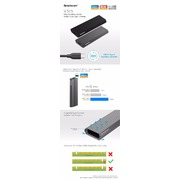 Simplecom SE513 NVMe PCIe (M Key) M.2 SSD to USB 3.1 Gen 2 Type C Enclosure 10Gbps Grey