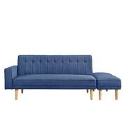3 Seater Fabric Sofa Bed with Ottoman - Blue