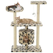 Cat Tree with Sisal Scratching Posts 95 cm Beige Paw Prints