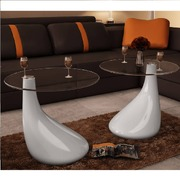 Coffee Table 2 pcs with Round Glass Top High Gloss White