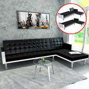 L-shaped Sofa Bed Faux Leather Black