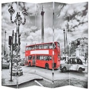 Folding Room Divider 200x180 cm London Bus Black and White
