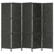 5-Panel Room Divider Black 193x160 cm Water Hyacinth