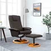 Swivel TV Armchair with Foot Stool Brown Faux Leather