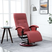 Swivel TV Armchair Wine Red Faux Leather