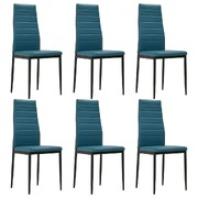 Dining Chairs 6 pcs Sea Blue Faux Leather