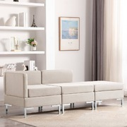 3 Piece Sofa Set Fabric Cream