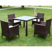 5 Piece Outdoor Dining Set with Cushions Poly Rattan Brown