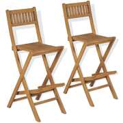 Folding Outdoor Bar Stools 2 pcs Solid Teak Wood