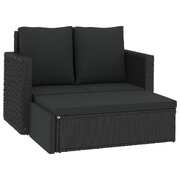 2 Piece Garden Lounge Set with Cushions Poly Rattan Black