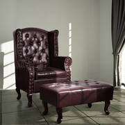 Armchair with Footstool Dark Brown Faux Leather