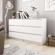 Sideboard High Gloss White 140x35x76 cm Chipboard