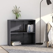 2-Tier Book Cabinet High Gloss Grey 80x30x76.5 cm Chipboard