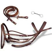 Leather Flash Bridle with Reins and Bit Brown Pony