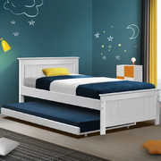 Wooden Trundle Bed Frame Timber Slat King Single Size White