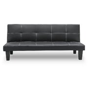 2 Seater Modular Faux Leather Fabric Sofa Bed Couch - Black