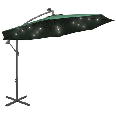 Hanging Parasol with LED Lighting 300 cm Green Metal Pole