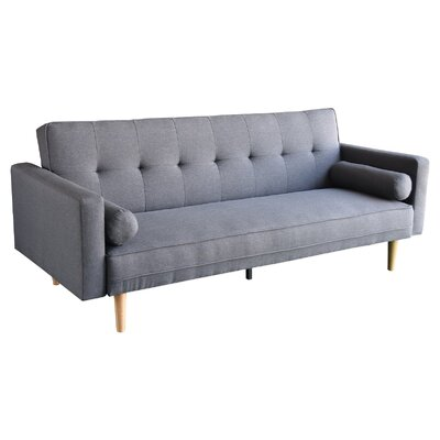 3 Seater Linen Sofa Bed Couch with Pillows - Dark Grey